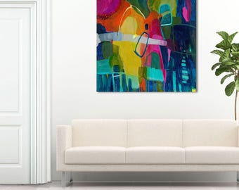 Abstract painting print large, blue abstract print, large abstract canvas art PRINT, green abstract art print turquoise, pink, orange yellow