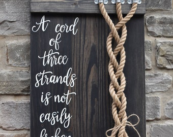 Ecclesiastes 4:12 Scripture Verse | A Cord of three strands | Custom Color and font Options Available