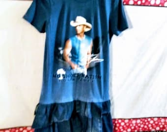 sale..Kenny Chesney Upcycled T-Tee shirt tunic blue jean denim small
