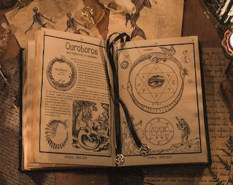 Black leather Triple Goddess Grimoire, magic Book of Shadows BOS