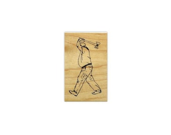 AXE THROWER Lumberjack unmounted rubber stamp, small, Timber Sports, Father's Day, man, logger, masculine, Sweet Grass Stamps #15