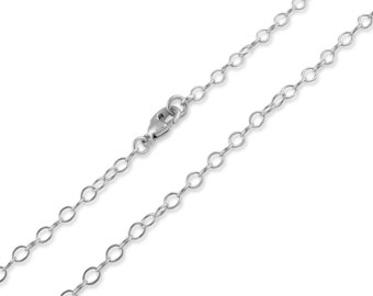 """Sterling Silver 3mm Cable Chain 12"""", 14"""", 16"""", 18"""", 20"""", 22"""", 24"""", 26"""", 28"""", 30"""""""
