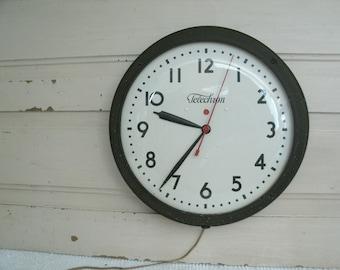 Vintage Wall Hanging Electrical School Clock, Large School or Office Telechron Clock, Industrial Clock