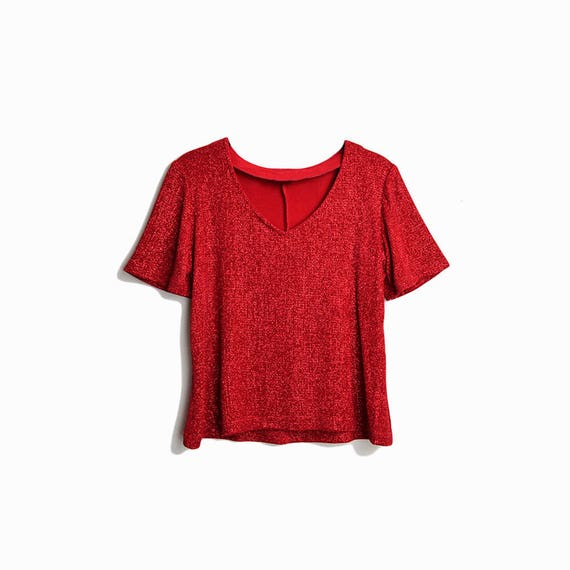 Vintage 90s Red Shimmer Valentine's Day Blouse / Short Sleeve Top / Metallic Spandex Tee - women's small