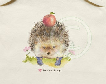 Organic cotton hedgehog onesie, cute baby clothes, organic baby, gender-neutral, I heart hedge-hugs