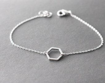 Silver Hexagon Bracelet