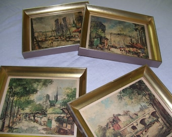 Francois Claver Paris Street Scene  Prints Lithographs  Set of 4 Framed with glass 8.5x10.25 Vintage