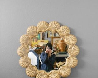 vintage large beveled seashell wall hanging mirror / beach house decor
