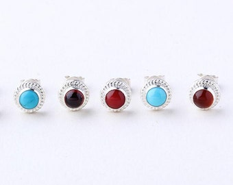 Silver Stud Earring   Gemstone Studs   Gemstone Post Earring   Turquoise Studs   Red Garnet Studs   Red Coral Stud   Birthstone Stud Earring