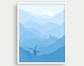 Blue Nursery Wall Art, Mountain Nursery Decor, Boy Nursery Art Print, Baby Boy Gift, Boy Room Art, Baby Shower Gift Boy, Blue Nursery Art