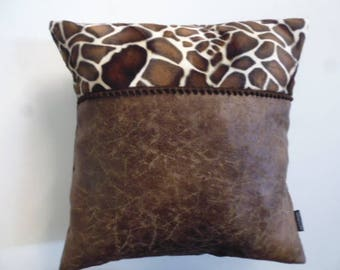 FAUX leather cushion and giraffe