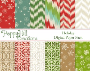 INSTANT DOWNLOAD - Printable Holiday Digital Paper Pack - For Personal and Commercial Use - Digital Designs