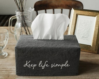 Keep Life Simple Print Washed Linen Rectangle Tissue Box Cover Tissue Cover Kleenex Box Cover Wedding Gift Office Decor Under 10 Gift