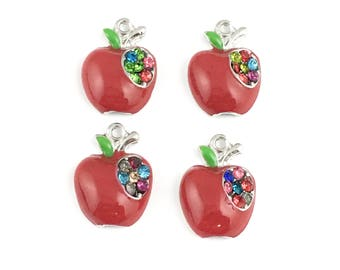4 apple charms red enamel silver tone and strass 16mm #CH 605
