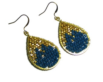 Brick Stitch Earrings, Seed Bead Earrings, Blue and Gold Crystal Earrings, Bead Weave Earrings, Bead weaving earrings, Seed Bead Earrings