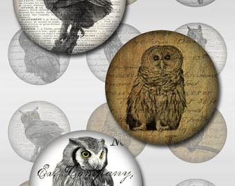 Owls Ephemera Vintage Instant Download for Glass Resin Pendants 2,1 Inch Round Circle Jpeg Images (S-29)