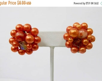 On Sale Vintage Burnt Orange Beaded Cluster Earrings Item K # 1071