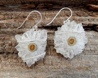 Quartz Stalactite Slice Earrings Sterling Silver Wire Wrap Crystal Dangle Drop Boho Free Shipping Jewelry