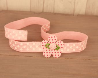 Hair band Tea Party Pink dots elastic with pink dots flower