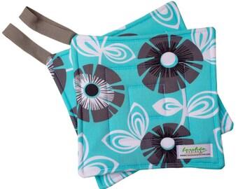 Handmade Floral Potholder Set | Heat Resistant | Colorful Pot Holder | Sewn Potholder | Fabric Hot Pad | Aqua Gray Regina |