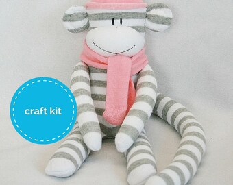 Stuffed toys, Sock Monkey Craft  Kit - Grey and White Stripes and Pale Peach Hat, Toy Pattern