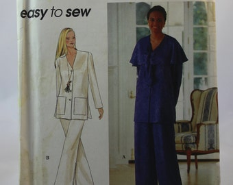 Simplicity 8810 Vintage Sewing Pattern Misses' Pants and Unlined Jacket Sizes 10-16 / Ladies Clothing / Fashion / 1990s / women / wide-leg