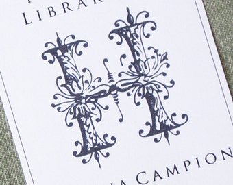 Monogram Bookplate, Single Initial, Floral set of 24