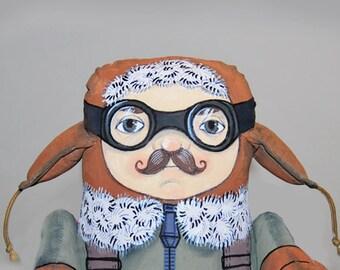 max the pilot painted art doll - soft sculpture