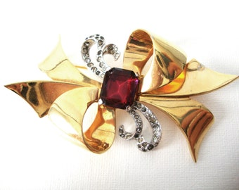 Vintage Mazer Large Bow Brooch With Ruby Red Stone and Rhinestones