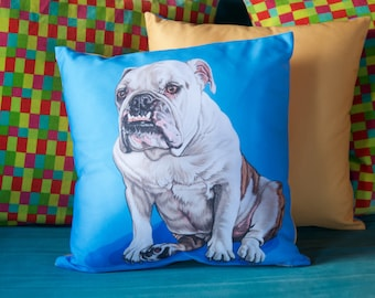 Funny English Bulldog Throw Pillows, Gift for Bulldog Lovers, Colorful Bulldog Gifts for the Home, Throw Pillows for English Bulldog Lovers