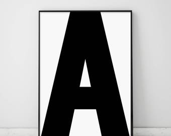 Letter A, a Print, A Poster, Letters Art, Letters Typography, Letter Wall Art, Scandinavian Letter, Affiche Scandinave, Black Letter A