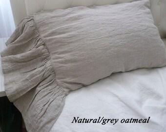 Natural Linen pillow shams, long ruffled pillow shams,linen pillowcase with long ruffles,Gray linen bedding,linen pillow cases with ruffles