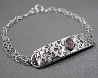 Pink Tourmaline Bracelet ID Bracelet Sterling Silver Bracelet Textured Patterned ID Bracelet Pink Gemstone