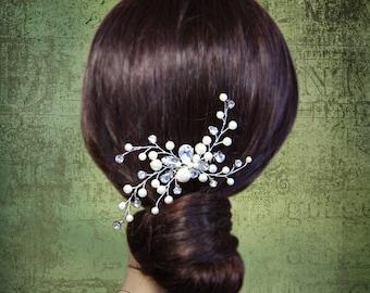 Bridal Hair Comb, Pearl Wedding Hair Pieces, Ivory Bridal Hair Combs, Rhinestone Head Pieces Wedding Comb, Hair Vines, Bridal Fascinator,