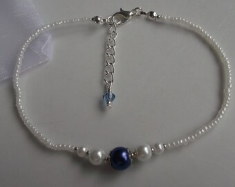 Something blue anklet, blue pearl anklet, ankle bracelet, stretch anklet, beaded anklet, bridal anklet, bridal jewellery, beach anklet