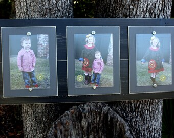 Wood Plank Frame, Distressed Picture Frame, Triple Frame, 5x7 Picture Frames, Black Picture Frame, College Frame