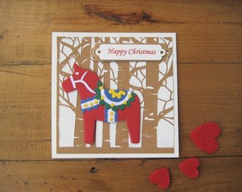 Green god jul norwegian swedish danish christmas card dala horse happy christmas card norwegian swedish danish finnish scandinavian nordic dala hest m4hsunfo