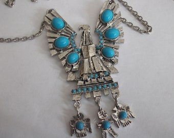 Southwestern Style Silver Tone With Faux Turquoise Stones With Attatched Little Charms