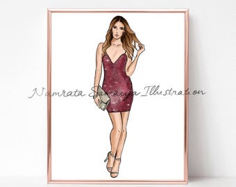Ready for the party.  (Fashion Illustration art print)
