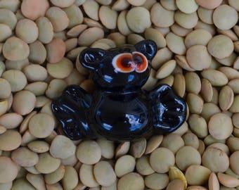 Halloween Bat Bead, Handmade Flameworked Glass Bead, Red Eyed