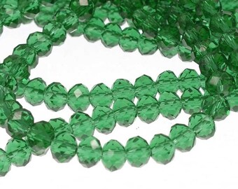 Rondelle Beads, Green  Beads, 6mm Beads, Glass 4mm Beads, Glass 6mm Beads, 6mm Green Beads, 4mm Green Beads,