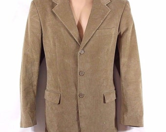 Men's Vintage Tailored Fitted Stretch Beige Needle Corduroy Blazer Jacket Size M - 48 - Chest Approx 46 in