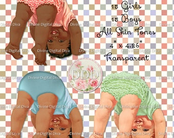 30 Vintage Baby Boy & Ruffle Pants Girl Doing Head Stand | Somersault |All Skin Tones Transparent Clipart Instant Download