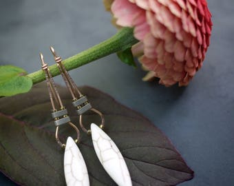 Minimal Gold Fill Hematite and howlite Drop Earrings