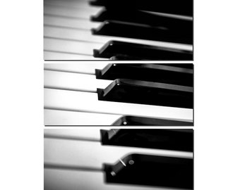 Piano Keys Black & White Canvas Triptych, 3 Panel Fine Art, LARGE, Ready to Hang