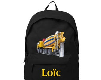 Black backpack truck top personalized with name
