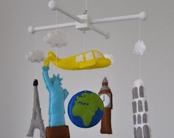 Crib mobile Baby mobile - Nursery decoration - Travel the world crib mobile -World landmarks baby mobile- airplane mobile- around the world