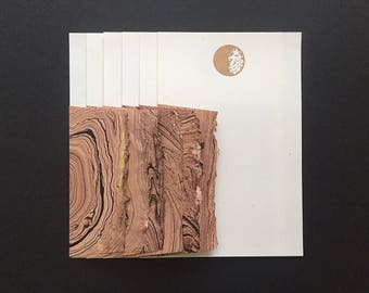 Stationery in Space - 6 Letterpress Moon Letter Papers & 6 Marbled Envelopes