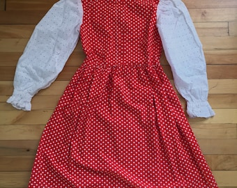 Vintage 1970s Girls Red Polka Dot Eyelet Lace Dress! Size 7