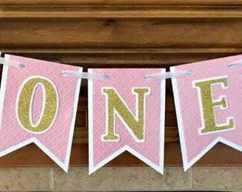 One Banner, One Banner with Crowns, Pink High Chair Banner, First Birthday, Girls First Birthday, Princess Birthday Banner